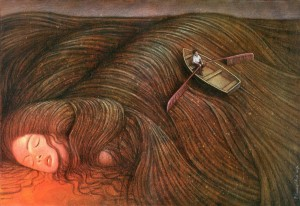 surrealism-woman-dreaming-row-boat-in-hair-beautiful-painting-art